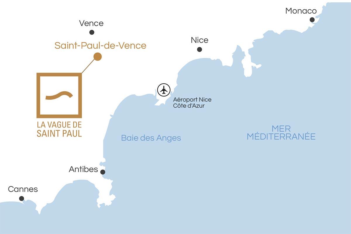 Plan de position et d'accès de la Vague de Saint Paul
